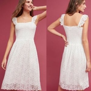 Maeve Anthropologie Anastasi White Smocked Dress
